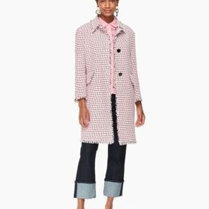 Kate Spade Pink Multi Tweed Coat Size 14 NWT